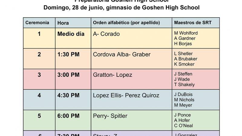 Calendario de graduaciones de Goshen High School