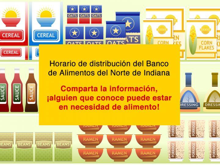 Horario de distribución del Banco de Alimentos del Norte de Indiana